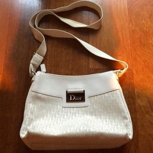 Dior White Canvas Leather Monogram Crossbody Bag